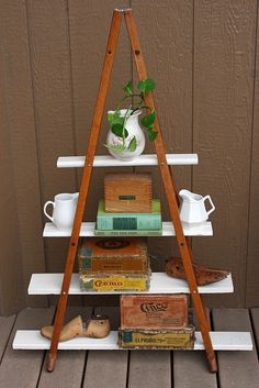 freestanding shelf made of old wooden crutches