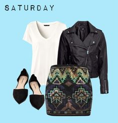 Glam up your plain white tee! For a night out, add your most fun mini skirt and a leather jacket for a glam rocker look