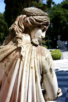 Here is the complete guide for your Corfu island holidays in Greece. Statues, Myconos, Island Holidays, Greek Paintings, Corfu Town, Corfu Island, Greece Holiday, Santorini Greece, Ancient Greece