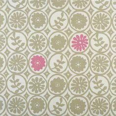 Pie in the Sky - Olive, Sea Pink - Vanessa Arbuthnott Vanessa Arbuthnott, Fabric Design, Pattern Design, Pie In The Sky, Polka Dot Fabric, Black White Pink, Ballard Designs, Fabric Wallpaper, Winter Garden