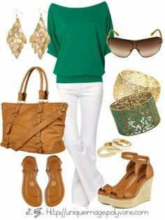 Casual green and white outfit with brown and gold accessories. Perfect for a lunch or dinner outside in warmer weather. # Casual Outfits night color combos Designer Clothes, Shoes & Bags for Women Fashion Mode, Look Fashion, Womens Fashion, Girl Fashion, Green Fashion, Ladies Fashion, Mode Style, Style Me, Mode Outfits