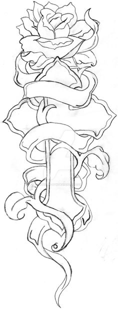 and Rose Line drawing by danie-ru-btw on DeviantArt -Cross and Rose Line drawing by danie-ru-btw on DeviantArt - drawings of crosses and roses Cross Tattoo Designs, Tattoo Design Drawings, Pencil Art Drawings, Tattoo Sketches, Horse Drawings, Cross Coloring Page, Love Coloring Pages, Coloring Books, Colouring
