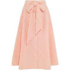 Lisa Marie Fernandez Pleated gingham cotton midi skirt ($470) ❤ liked on Polyvore featuring skirts, bottoms, long skirts, midi skirt, peach, flare skirt, flared skirt, calf length skirts, mid calf skirts and midi flare skirt