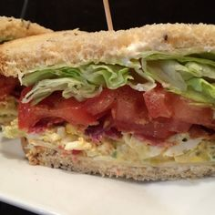 Egg Salad BLT...Egg Salad with Swiss Cheese, Apple Wood Smoked Bacon, Vine Ripe Tomato, Crisp Lettuce and Mayo on Toasted Seeded Rye Bread