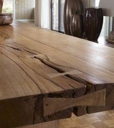 Wooden pegged splitting tabletop