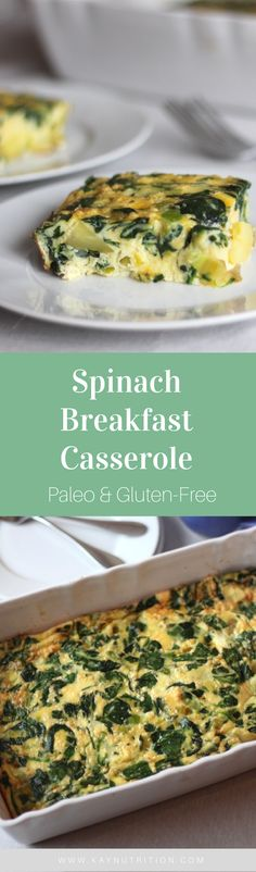 This Spinach Breakfast Casserole is a great on-the-go breakfast loaded with lots of protein, carbohydrates, healthy fats and veggies to help fuel your day!