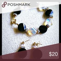Earrings and Bracelet Gold plated. Swarovski style. Handmade Jewelry Earrings