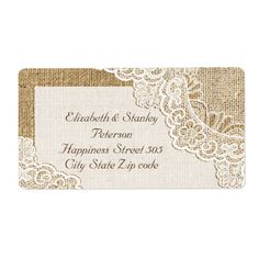 Rustic white lace on burlap wedding shipping label