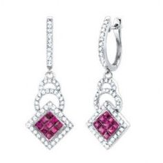 1.80CT Diamond & Ruby Fashion Earrings in 14K White Gold. Use coupon code: ASIA and get Extra 15% off! http://www.classyjewelry.com/all-gold-jewelry-1/1-80ct-diamond-ruby-fashion-earrings-in-14k-white-gold.html