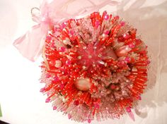 GIANT Red Pink and Crystal Ornament with Pink Drop. by PHBeadworks, $395.00