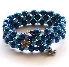 Blue Glass Pearl Memory Wire Bracelet by beadingshaz on Etsy, £6.50