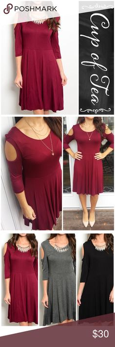 "Wine cold shoulder dress Perfect wardrobe essential!! A classic piece. Wine cold shoulder jersey knit dress. Rounded neckline, 3/4 sleeves.  Can be worn over leggings as well if you are taller. Made in USA 🇺🇸 soft and stretchy. 65% rayon 35% viscose. SMALL: bust 34"" length 36"" MEDIUM: bust 36"" length 37"" LARGE: bust 38"" length 38"". Also available in black and grey. I'm modeling the small. CupofTea Dresses"