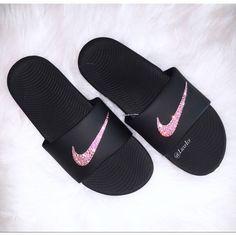 8b21887f8ece0 Nike KAWA Slides Black Flip Flops customized with Swarovski Crystals ( 65)  ❤ liked on