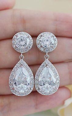 Luxury Halo Style cubic zirconia Bridal Earrings from EarringsNation