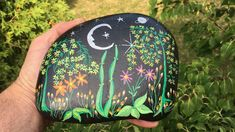 A multicolor fantasy flower garden under a moonlit night sky is featured on this hand-painted rock. Painted Rocks For Sale, Hand Painted Rocks, Front Door Decor, Garden Art, Black Backgrounds, Etsy Store, Flowers, Unique, Gifts