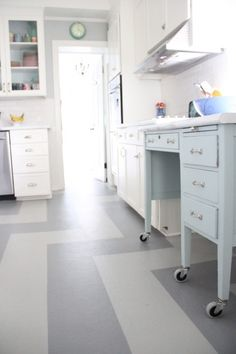 The DIY Kitchen Island fits perfectly between the cooktop and the pantry!