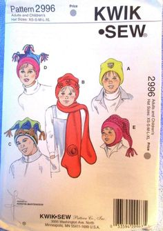 Kwik Sew Hats Mitten Scarf Pattern #2996 Sizes XS S M L XL Uncut #KwikSew