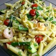 penne with shrimp and roasted beggies in garlic lemon sauce