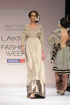 Slate Gray Satin Gown worn with Peuter Velvet Koti with 'Pita Kora' Lotus Embroidery. SHOP THIS LOOK: http://www.payalsinghal.com/search/sanea-gown