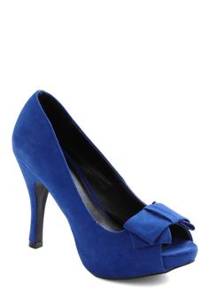 Glamour Galore Heel - Blue, Solid, Bows, High, Peep Toe, Party, Holiday Party, Pinup, Vintage Inspired