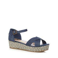 bluezoo Navy denim flat sandals | Debenhams