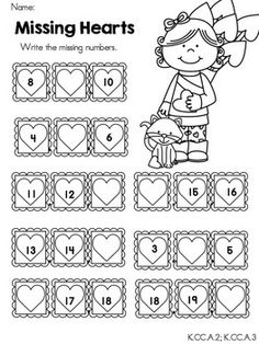best missing number worksheets images  math activities math  valentines day kindergarten math worksheets  teacherspayteacherscom kindergarten  math worksheets kindergarten learning