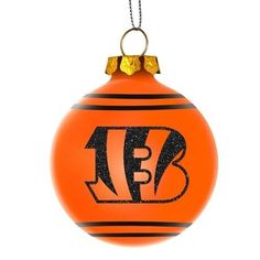 Cincinnati Bengals NFL 2014 Glitter Logo Glass Ball Ornament