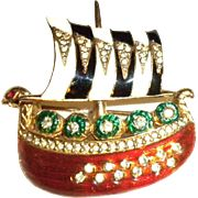 Ciner enamel Viking boat Pin Brooch
