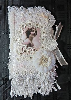 A Fabric and Lace book with two pockets inside #A