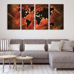 Τετράπτυχος πίνακας σε καμβά World map Lava edition - Ninesix.gr