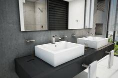 Ideas para #Tubaño. Lavabo Futura de sobreponer con rebosadero, tres perforaciones. Acabado: Cerámica de alto brillo color blanco. http://www.helvex.com.mx/lavabo-futura-3