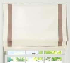 Grosgrain Ribbon Cordless Roman Shade #potterybarn (blue)