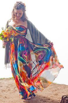 Tie Dye Hippie Wedding Dresses Fashion Dresses,Boho Flowy Beach Wedding Dresses