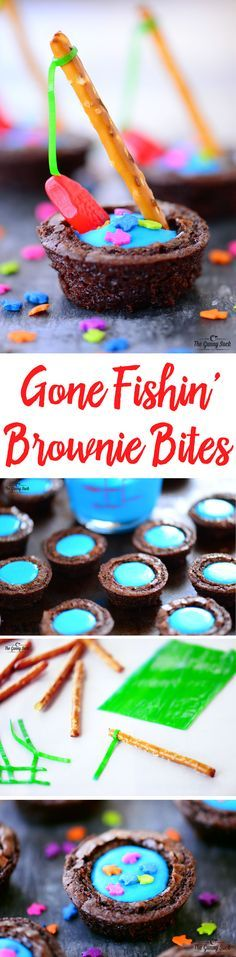 These Gone Fishin' Brownie Bites with blue frosting water, fish sprinkles and a pretzel fishing rod with a gummy fish on the line are so much fun for any party! They look adorable on a dessert table and kids love eating them. #ad