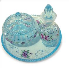 Oh so charming Vanity Set Fenton Glassware, Antique Glassware, Antique Perfume Bottles, Antique Vanity, Vintage Vanity, Glass Vanity, Vanity Set, Cut Glass, Glass Art