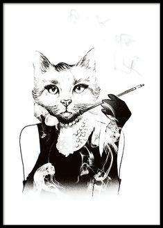 Svartvit tavla / poster med vintage illustration.