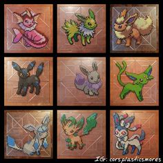 "All the Shiny Eeveelutions in one post!!! *.* ( inserts obligatory ""Ohhh, shinyyyy!"" right here) Most of these are still available for purchase. I will have the prices on the next post! #corsplasticsmores #perlerbeads #perler #fusebeads #hamabeads #pokemon #eeveelution #pokemongo #pokemonart #pokemongame #pokemon20 #beadart #beadsprite #nintendo #ninstagram #pegboard #pixelart #vaporeon #umbreon #espeon #glaceon #leafeon #sylveon #flareon #jolteon #eevee #shinypokemon #gottacatchemall"
