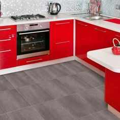 DIY/Self stick (can be grouted)  TrafficMASTER Ceramica 12 in. x 12 in. Coastal Gray Resilient Vinyl Tile Flooring (30 sq. ft./case)-27116 at The Home Depot