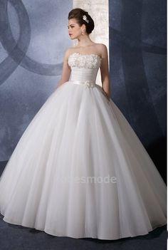 Robes de Mariée en Ballon Sans bretelles fleur à la main en satin et organza