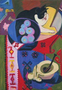 """Ernst Ludwig Kirchner (German, 1880-1938) - """"Stilleben mit Katze und Pfeife"""" (Still life with cat and pipe), 1930–32 - Oil on canvas - Kirchner Museum Davos"""