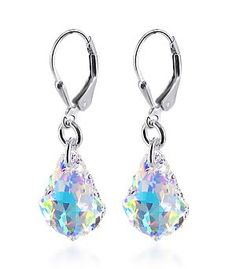 SCER035 Sterling Silver Sensational Clear AB Crystal Earrings Made with Swarovski Elements: Jewelry: Amazon.com