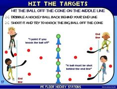 "PE Floor Hockey Stations- 20 ""Stick to it"" Zones Hockey Drills, Hockey Games, Elementary Pe, Elementary Physical Education, Pe Ideas, Pe Activities, Cooperative Games, Pe Games, Gym Classes"