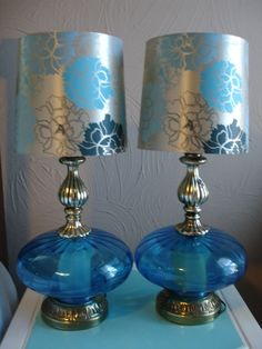Blue Glass Antique Lamps. Weird I have these lamps with different shades 70's Hollywood regency :)