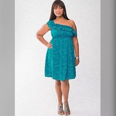 1c794736590 Lane Bryant One Shoulder Ruffle Dress One shoulder ruffle dress from Lane  Bryant in a size Fun palm print on a blue background. Perfect for the  summer or ...