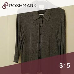 Top Long Sleeved Button Down Silver Stretchy Fashion Bug Tops Blouses