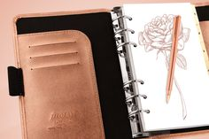 Stunning Saffiano organiser with metallic rose shimmer #filofax #rosegold #organiser