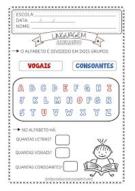 Notebook da Profª: Atividades Alfabeto - Vogais e Consoantes