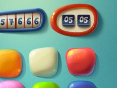 Lovely rendered look to these buttons, reminds me of Despicable me cartoon style