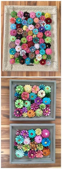 These pinecone flowers in a frame are so pretty! Perfect craft for summer or spring. Makes a beautiful wall art piece. These pinecone flowers in a frame are so pretty! Perfect craft for summer or spring. Makes a beautiful wall art piece. Kids Crafts, Summer Crafts, Fall Crafts, Crafts To Make, Arts And Crafts, Pinecone Crafts Kids, Pine Cone Crafts For Kids, Crafts For Sale, Garden Crafts For Kids