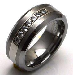 Elixt | Wedding Ring | Tungsten Carbide Band with 7 Diamond cz down the center